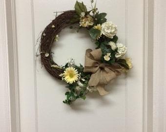 Sale! - Grapevine Wreath -  All Season Wreath – Burlap Bow Wreath – Daisy Wreath - Hydrangea Wreath