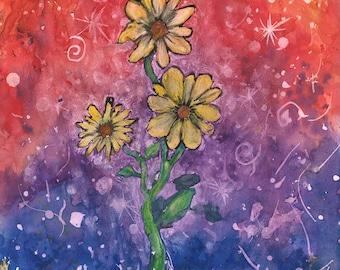 "Daisy 9""x12"" Watercolor"