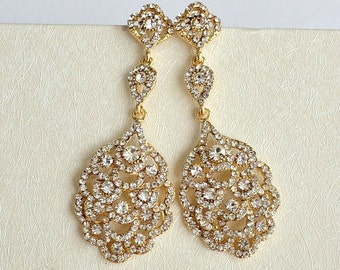 Art Deco Rhinestone Chandelier Earrings. Vintage Inspired Bridal Earrings. Old Hollywood Glamour Wedding Earrings. Great Gatsby Earrings.