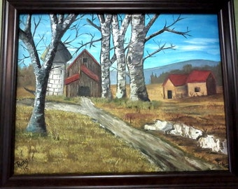 Barn and Silo framed oil painting