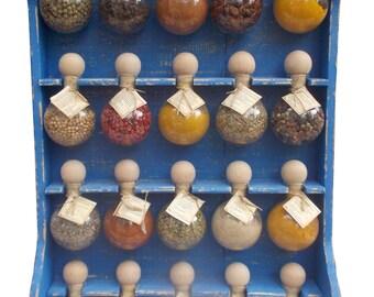 20 bubbles blue patina 'Bubbles of spices' spice racks