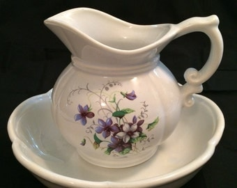 McCoy Purple Floral Pitcher and Basin