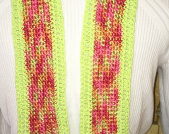 "Handmade child's scarf- ""cherry limeade"""