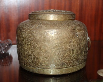 Gorgeous Interesting Brass Chinese Asian Japanese Lidded Container Ebossed 1900s