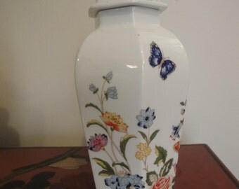 """Aynsley jar with lidded top collection ref """"cottage garden"""" standing 26cm high"""