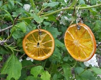 Orange Wagon Wheel Earrings