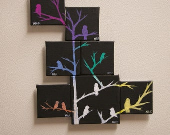Colorful Birds Silhouette Magnets