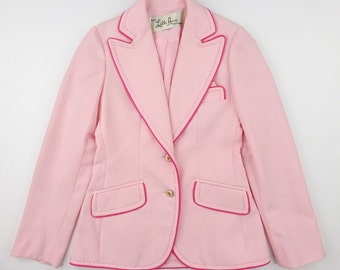 1960s Lilli Ann Pink Polyester Jacket With Pocket Handkerchief - Excellent