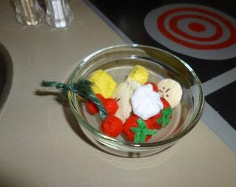 Wool Felt Play Food Fruit Bowl with Whipped Cream Handmade