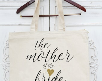 MAID OF HONOR, Mother of the Bride, Mother of teh Groom, Flower girl Heavy Canvas Tote with Zipper