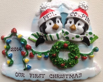 33% Off- Personalized Penguins Newlywed Couple's , Twins First Christmas Ornament- Friends, Siblings, BFFS