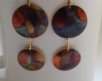 Flamed Brass Disc Ear Rings