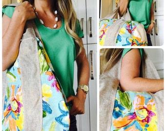 Tropical Turquoise Weekend Bag w/ Burlap Handles