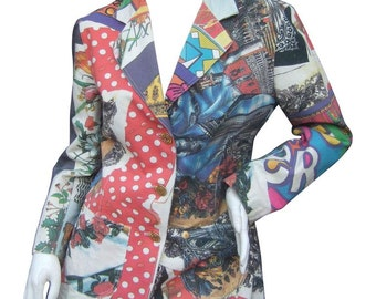 Moschino Mod Op Art Graphic Print Jacket. Early 1990's.