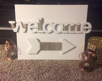 3D Welcome arrow sign