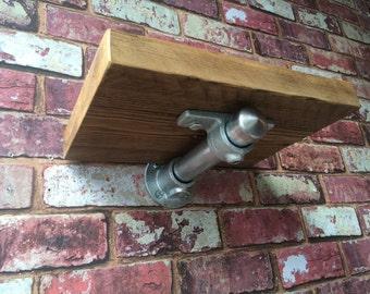 Small Industrial Scaffold Shelf with Heavy Duty Steel Tube Bracket, Reclaimed Scaffold Board and Galvanised Steel