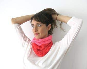 Cowl scarf, handknitted neckwarm, cozy cowl & beanie, unisex accessory, unisex cowl, gift under 30, circle scarf, hot pink cowl, warm scarf