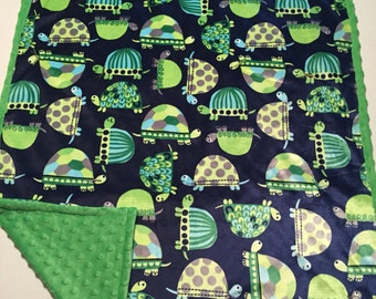 Green and blue turtle baby blanket