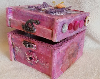 jewelry box for girl, handmade altered wood trinket box, pink handmade keepsake box, decoupage gift box for girl, gift for her