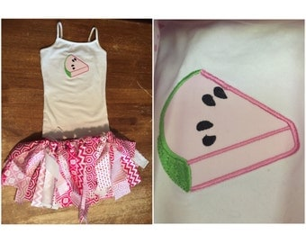 Watermelon Rag Skirt Outfit (size 5)