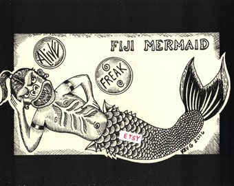 Horizontal Fiji Mermaid Art Print by @ArtByKevG