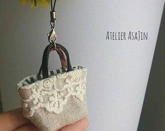 Handmade miniature linen bag with removable strap