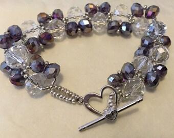Twist bracelet - clear & purple