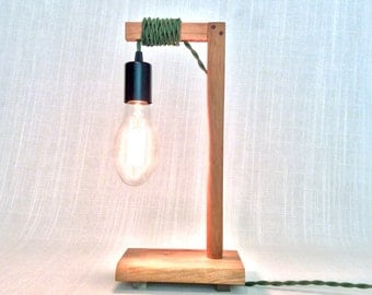 Organic Modern Handmade Wood Table/Bedside/Desk Lamp, Black/Green, Solid Cherry