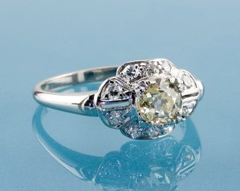 Vintage Art Deco Platinum Diamond Ring, 0.60 Ct Natural Fancy Light Yellow, VS1, GIA Certified
