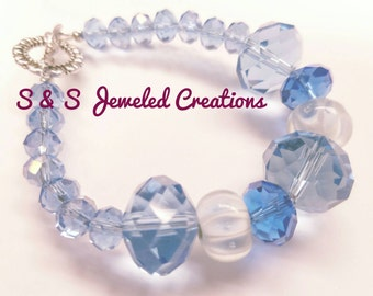 Multi-Blue Faceted Beaded Bracelet
