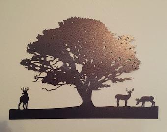 Deer and Tree Metal Wall Art