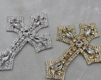 Silver cross trim, Bridal Applique, gold cross, Rhinestone trim, rhinestone applique, crystal sash, bridal sash, headband wedding headpiece