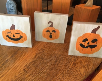 Pumpkin, holiday, decor, trick or treat, reclaimed wood, jack-o-lantern, rustic