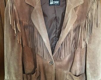 VINTAGE TAN SUEDE fringed coat  hippie gypsy festival jacket