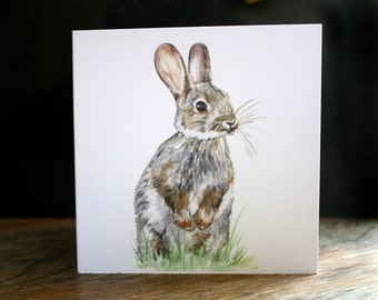 10x10cm 'Wild Rabbit' Giclée Print Greetings Card