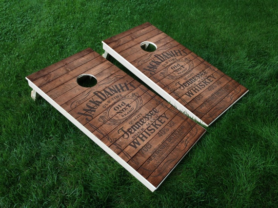 Whiskey 01 Jack Daniels Makers Mark Cornhole Wrap Decal Sticker SET OF 2 PRINTS