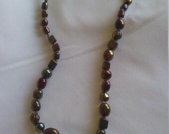 Bronze Metalic Glass Bead Necklace