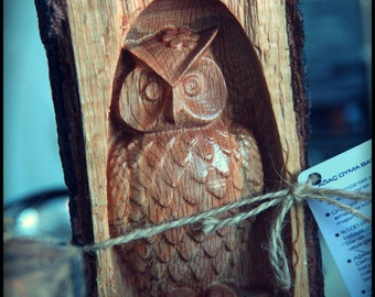 Log Carving Owl Figurine