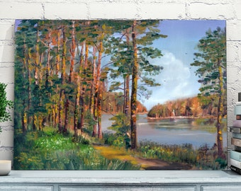 Evening on the river. Original oil painting on canvas.