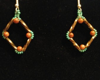 BUGLE DIAMOND with GOLDSTONE Earrings