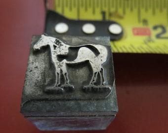 Vintage Zinc/Lead printing block - Horse