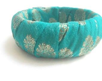 Sari Silk Bangle - Teal