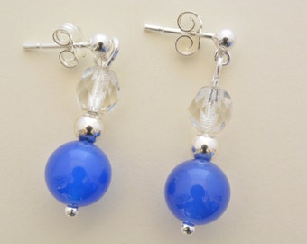 Sterling silver blue onyx and crystal bead drop earrings