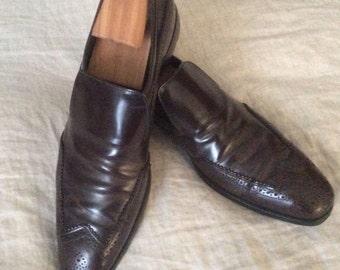 Vintage Prada Men's Cordovan Wing Tip Loafers Size 10 USA