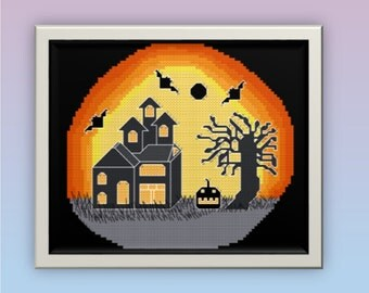 Halloween Haunted House Cross Stitch Chart