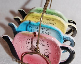 Cute-As-Can-Be Tea Bag Holders and Metal Caddy