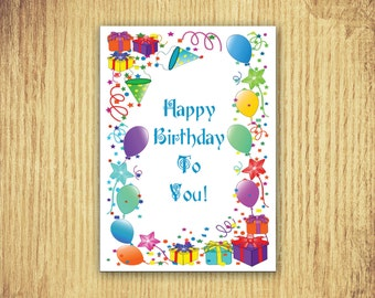 Gifts and Balloons ~ Birthday Card ~ 5 x 7 ~ Digital Download Only