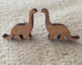 Wooden bamboo earrings animal dino