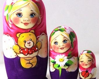 "Matryoshka ""Alina with bear and chamomile"" 3 places"