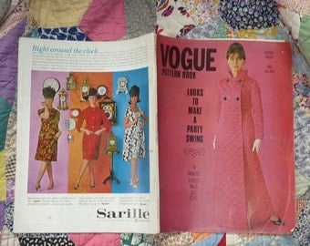 VOGUE PATTERN BOOKS..two vintage magazines..sixties 1963..winter issues..dressmaking couture..suit dress blouse skirt..sewing needlework..